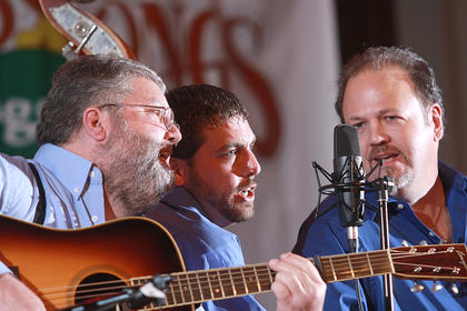 Mike Johnson, Blake Johnson and David Nance harmonize during the Hagars Mountain Boys performance Saturday evening.