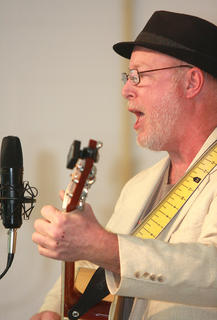 """Steve Gray of Campbellsville sings his song """"Baby I Love"""" during the singer/songwriter competition Saturday afternoon at Marion County High School."""