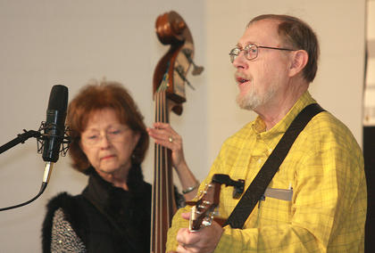 "Bill Lancaster of Somerville, Ala., performs ""His Gift"" during the singer/songwriter competition Saturday afternoon at Marion County High School. His wife, Betty, accompanied him on the upright bass."