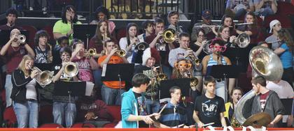 The Marion County High School band plays at the first round game of the state tournament against Walton-Verona.