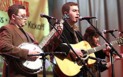 Jesse Clayton Meador plays the banjo for Kentucky Just Us, a family Bluegrass band based in Greensburg.
