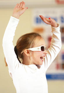 Second-grader Leah Wright show off her moves.