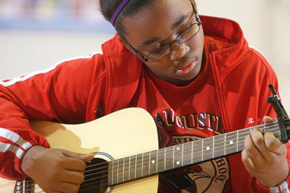 Seventh-grader Arieyon Smith plays &quot;Second Change&quot; by Shinedown.