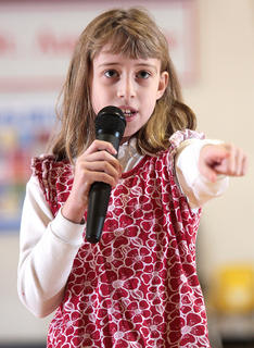 Jessica Thomas, a fourth-grader, sings &quot;I&#039;m only me when I&#039;m with you&quot; by Taylor Swift.