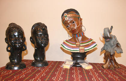 A display featured African sculptures.