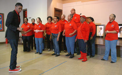 The Marion County Arts and Humanities Council held its annual Black History Celebration Feb. 8 at the Lebanon United Presbyterian Church. The event included dance and musical performances. The Campbellsville First Baptist Church choir sing to help open the black history celebration.
