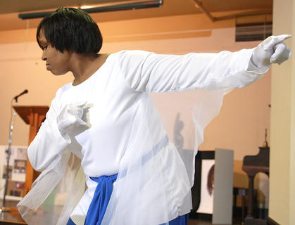 Jessica Douglas takes the lead for the Campbellsville First Baptist Church liturgical dancers.