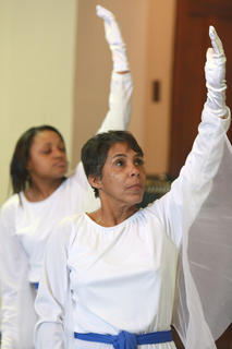 Sharon Sanders, right, and Tonya Gowdy perform with the Campbellsville First Baptist Church liturgical dancers.
