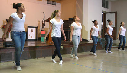 "The GIP youth dancers from Campbellsville First Baptist Church perform a routine to ""Stomp"" by Kirk Franklin. GIP stands for God's Inspirational Praise. They are, from left, Etiyah Thompson, Carrington McKay, Deovion Owens, La'Tavia Gowdy, KeTayah Taylor and Diamond Thompson."