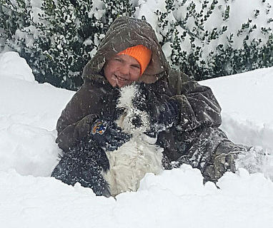 Charlie Martin Mattingly and his dog Mac play in the snow on Friday, Jan. 22.