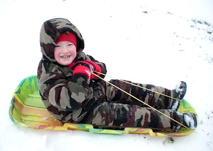 Brandon Estes enjoys some sleigh riding on Jan. 26. He is the son of Tammy Washburn.