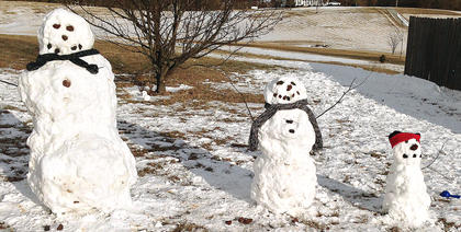This snowman family was created by Lynette, Isabella and Keegan Cheser.