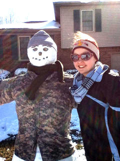 Adria Whitfill and her mother built a snowman in honor of her brother Colin Whitfill, who passed away in December of 2013 after an automobile accident. He was in the Kentucky National Guard.