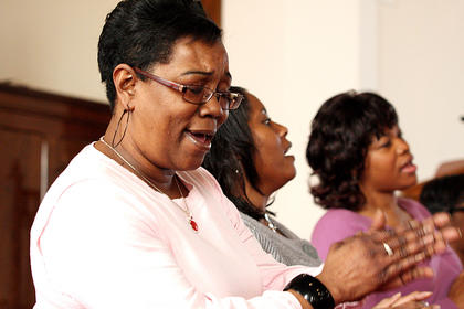 Members of the Johnson AME Zion Church Choir in Springfield performed two songs during Sunday's event.