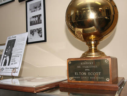 Elton Scott's trophy for winning Mr. Basketball in 1994 is among the items in on display.