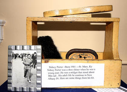 A shoeshine kit used by Sidney Porter, who was born in 1901, is included among the exhibit items.