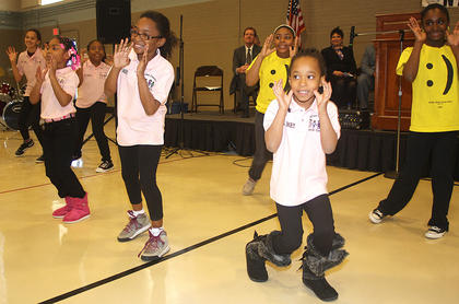 Members of the Marion County Youth Center perform a dance routine for the audience.
