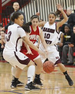 Makayla Epps and Haeli Howard trap a Taylor County player and force a turnover in the Lady Knights 65-26 win.