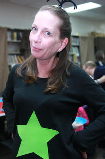Anne Foster, the Bookmobile and outreach librarian, dressed as a star-bellied Sneetch.