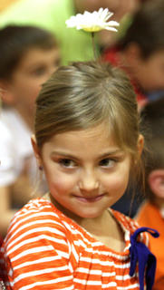 """Abigail Caldwell looks like she climbed right out of Dr. Seuss's book """"Daisy-Head Mayzie."""""""