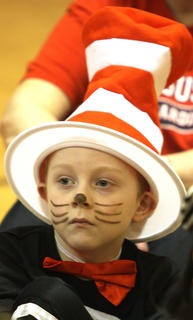 Keaton McCauley dressed like the Cat in the Hat for Fridays festivities.