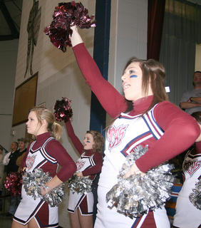 The MCHS cheerleaders keep the crowd energized.