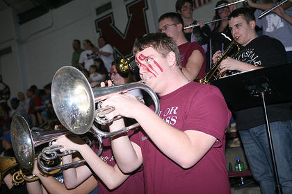The MCHS band performs during the game.