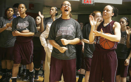 Makayla Epps lets out a scream as the Lady Knights wait to take the court before the state championship game.