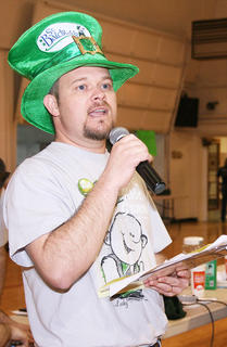 Jim Reed served as the master of ceremonies during Saturday's St. Baldrick's event at St. Augustine.
