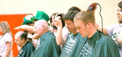 Members of the Marion County Rotary Club shaved their heads in honor of Missy Spalding this year.