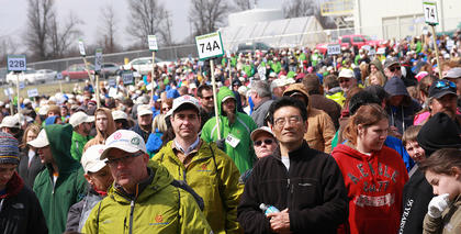 More than 3,500 people participated in the tree-planting Sunday afternoon.