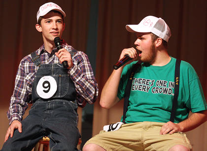 Michael Sandusky, left, and Jerrad Livers perform a comedic monologue together for their talent.