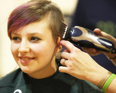 Sammi Jo Potters shaved her head for the sixth time during this year's St. Baldrick's.