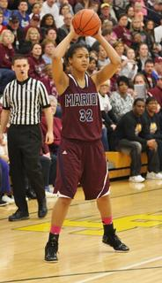 Kyvin Goodin-Rogers looks for an open teammate in the Lady Knights win in the regional championship game.