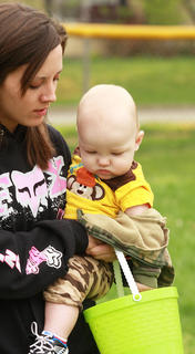 Frances Gorczyca and her son, Jared, 9 months, take a look at what they found.
