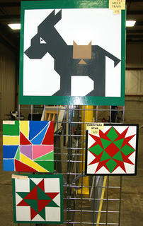 A collection of barn quilt patterns is on display (and for sale) at the Farm, Home and Garden Show.