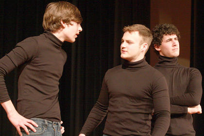 "During a scene from ""Romeo and Juliet"", Romeo (Silas Humphress), left, chats with Mecrutio (Trevor Fitzpatrick) as Benvolio (Alex Mattingly) watches the room."