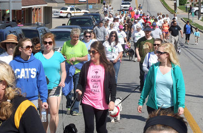 The participants in Strut Your Matt leaving walk down Spalding Avenue early  in the walk.