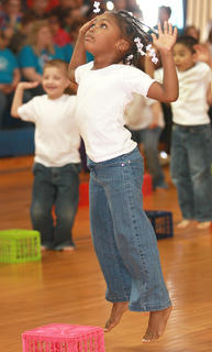 "Kindergartener Syniah Edelen dances to ""Mrs. Robinson."""