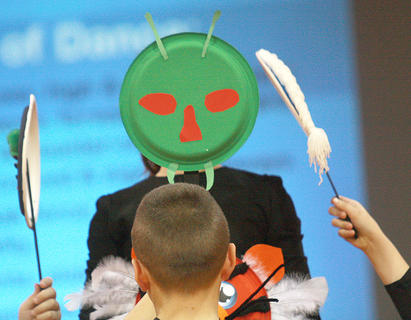 """The fourth graders made masks, which they incorporated into their routine to """"Beautiful"""" by Christina Aguilera."""