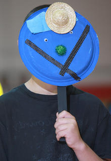 "The fourth graders made masks, which they incorporated into their routine to ""Beautiful"" by Christina Aguilera."