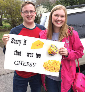 Connor Johnson used an Ed Sheeran CD and macaroni and cheese to ask Jane Palagi to prom. Macaroni and cheese is one of Palagi's favorite foods.