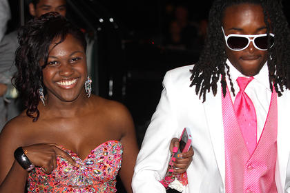 Quamane Johnson and Shaija Camp make their stylish entrance into prom.