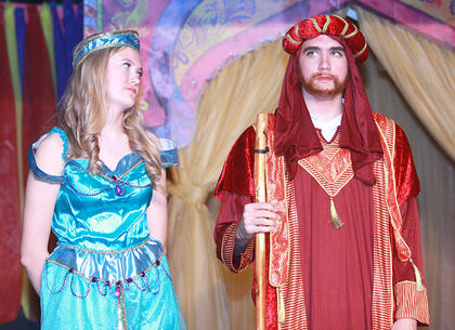 """St. Augustine's eighth grade presented """"Aladdin Jr.""""April 23 at the St. Augustine Parish Center. The play was adapted from Disney's Aladdin, and it tells the tale of Princess Jasmine and Aladdin. Princess Jasmine (Carly Mattingly) is less than happy that her father, the sultan (Ethan Higdon) is forcing her to marry against her will."""