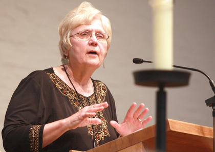Sr. Maureen Fiedler, who hosts an NPR radio program in Washington D.C., urges her sisters to make protecting the environment a continued focus for the community.