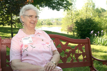 Sr. Agnes Ann Schum rests on a bench during the activities on Founders Day, April 25.