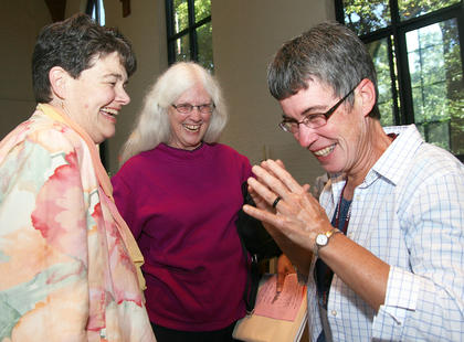 Sr. Cathy Mueller (left), president of the Loretto Community, shares a laugh with co-members Maureen O&#039;Connell and Susan Classen.
