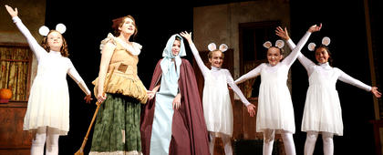 Cinderella (Emma Humphress), left, and her fairy godmother (Madison Knopp) perform a song and dance with the mice. The mice are Ally Mattingly, Kaylee Reed, Laurel Cochran and Lea O'Daniel.