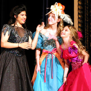 Andy O'Daniel, left, plays Cinderella's evil stepmother while Gracie Wilson and Elizabeth Morris play the evil stepsisters, Joy and Grace.