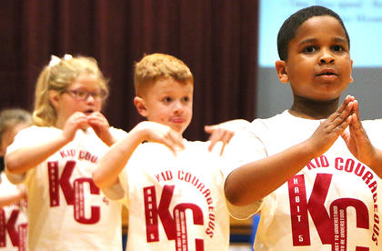 Pejaun Owens, right, performs with his classmates. Also pictured are Ayden Hamblin and Mariana Aguayo.